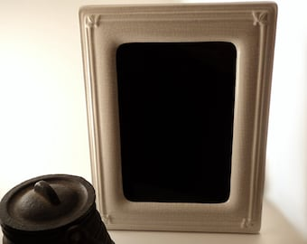 Winter Spirit Black Scrying Mirror with Crackle Effect Enameled Ceramic Frame