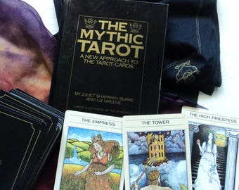 Mythic Tarot Deck, Cloth & Book - 78 Cards with Hand Made Pouch and White Sage Smudge Stick