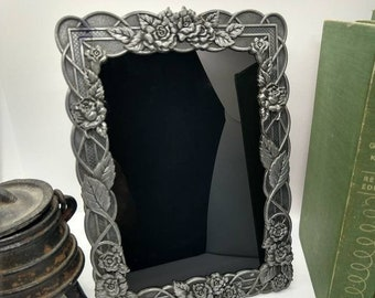 Climbing Roses Black Scrying Mirror with Pewter Floral Frame
