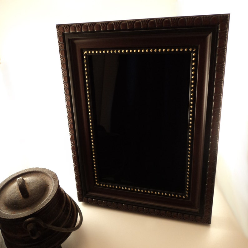 Gibson Girl Black Scrying Mirror with Faux Wood and Gold image 0