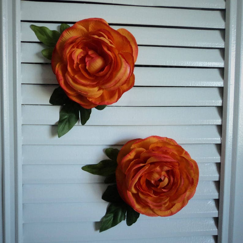 Orange Buttercup Ranunculus Flower Hair Clip Fascinator image 0