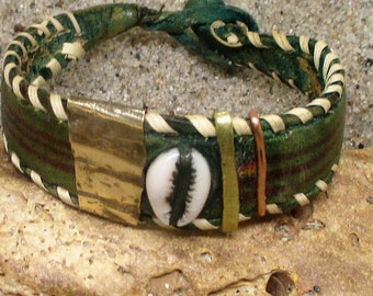 Copper, Brass and Shell Green Leather Bracelet