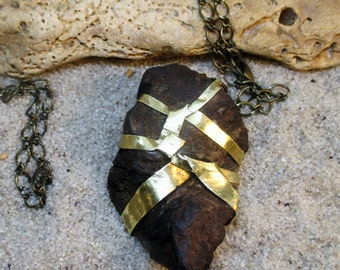 Brass Wrapped Wood Pendant with Chain