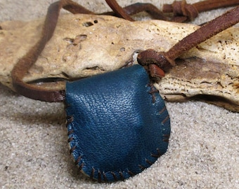 Brown and Blue and White Leather Gris Gris Necklace