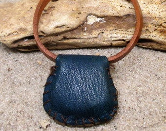 Brown and Blue and White Leather Gris Gris Bracelet
