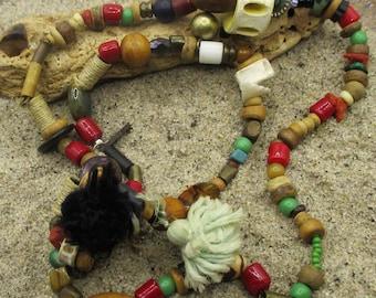 Bayefall Tassel Bead and Bone Necklace