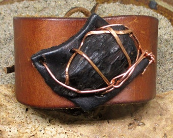 Brown Leather Copper and Wood Cuff Bracelet