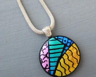 Dimensional Glass Pendant Zentangle Dichroic Glass Pendant Stained Glass Look Triangle Pendant Contemporary Rainbow Necklace
