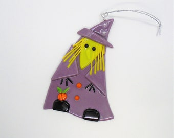 Fused Glass Halloween Witch Sun Catcher, Purple and Green Fused Glass Witch,  Fall Decoration, Halloween Stained Glass Suncatcher
