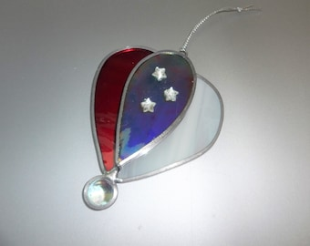 Patriotic Hot Air Balloon Stained Glass Suncatcher, Leaded 4th of July Sun Catcher, Military Stained Glass