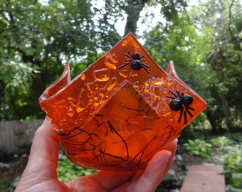Fused Glass Halloween Candle, Spider Candle Shelter, Votive Holder, Orange and Black Halloween Spider Glass Candle Cup