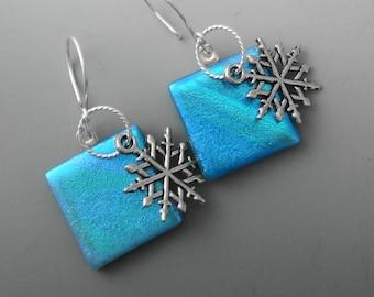 Christmas Earrings, Glass Holiday Earrings, Blue Snowflake Earrings, Dichroic Fused Glass Drop Earrings - Blue Glass Snowflake Earrings
