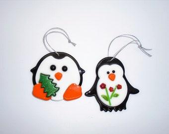 Fused Glass Penguins, Penguin Ornament, Christmas Glass, Holiday Penguin, Embellished Penguins, Secret Santa Gift, Ornament Exchange
