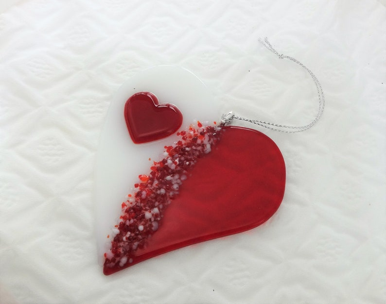 Stained Glass Red and White Glass Heart Glass Valentine Heart Suncatcher Fused Glass Valentine Heart Suncatcher Here/'s my Heart
