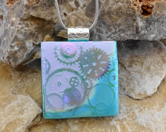 Dichroic Pendant, Blue and Pink Dichroic Pendant, Silk and Satin Glass Necklace, Steampunk Jewelry, Fused Glass Necklace, Glass Slide