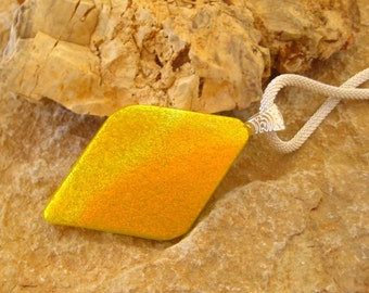 Yellow Fused Glass Pendant, Fused Glass Necklace,  Diamond Shaped Dichroic Pendant- Sunrise at Dawn