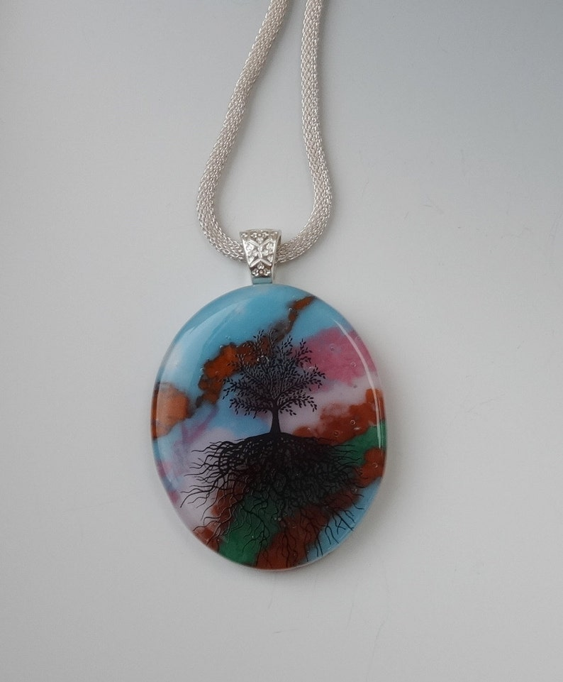 Blue and Pink Glass Pendant Tree of Life Pendant Stone Look Glass Pendant -Tree of Life Fused Glass Pendant Oval Fused Glass Pendant