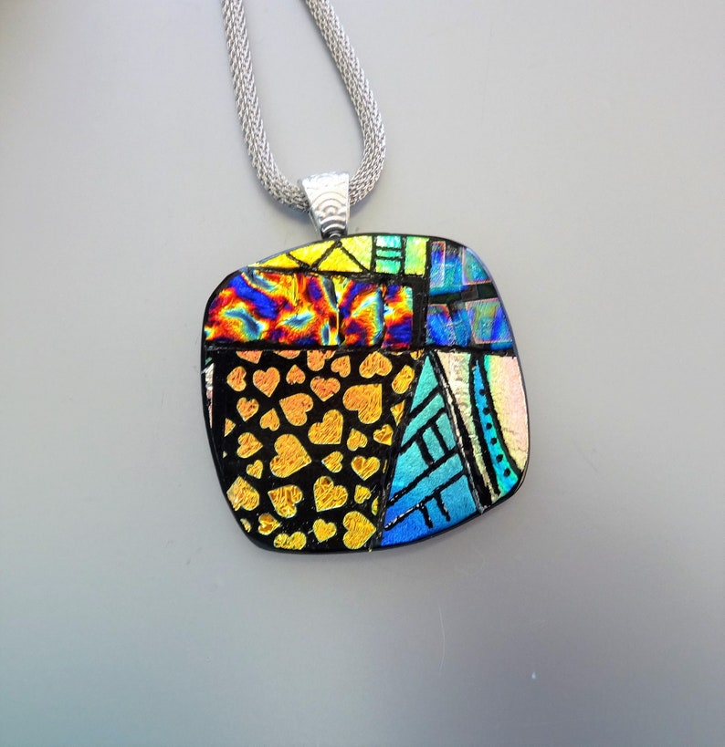 Hand Engraved Pendant Square Dichroic Fused Glass Necklace Dichroic Jewelry Statement Necklace Zentangle Glass Pendant Signs of Spring