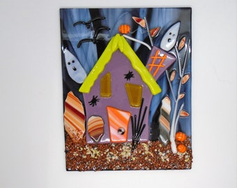 Fused Glass Haunted House Panel with Cherry Wood Stand, Table Top Holiday Decoration, Fused Glass Halloween Decoration, Sun Catcher