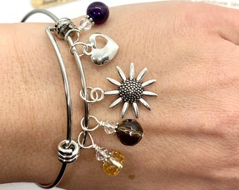 Rise & Shine Gemstone Wellness Bangle Bracelet/ Positive Energy Crystals/Citrine, Smokey Quartz, Amethyst/ Happiness/ Health/ Healing