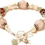Juno Fertility Bracelet in Sterling Silver- with Rose Quartz, Moonstone, Carnelian, Green Aventurine, Pearls, Crystals
