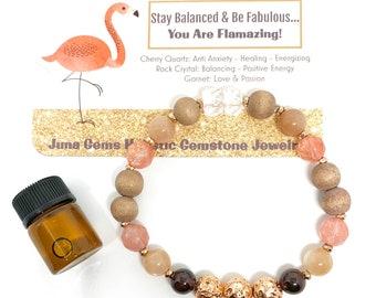 Gift Set/ Gemstone Oil Diffuser Wellness bracelet/Stretch/ Rose Gold/ Stress Relief Oil Bottle / Wood, Lava, Cherry Quartz, Garnet