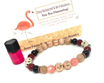 Be FLAMAZING! Gemstone Wellness bracelet, Unisex, Stretch, Rose Gold, Lava, Cherry Quartz, Garnet, Holistic Healing