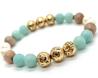 Boho Gemstone Bracelet/ Gold Lava/ Amazonite/ Peach Moonstone/ Freshwater Pearls/ Stretch/ Holistic Crystal Healing