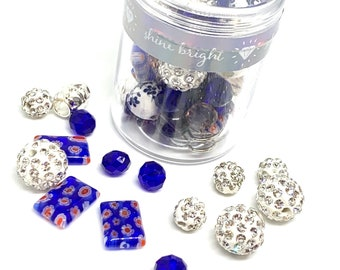 Bead Kit / Bracelet Making Kit / Make Your Own Jewelry / Makes 2 Bracelets / Blue or Purple / Home School Project / Mommy and Me Craft
