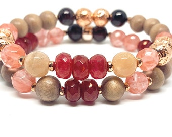 Be Flamazing Gemstone Oil Diffuser Wellness bracelet/Stress relief essential oil/ Rose Gold,RoseWood, Lava, Cherry Quartz