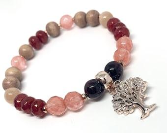 Be FLAMAZING! Gemstone Oil Diffuser Wellness bracelet, Stretch, Rose Gold, Rose Wood, Lava, Cherry Quartz, Garnet, Holistic Healing Jewelry