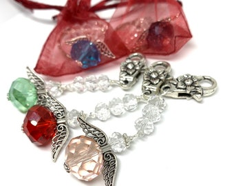 Angel Crystal Keyrings- sparkly gifts for co-workers / stocking stuffers/ teacher gifts/ Christmas tree decorations/ holiday gifts