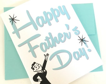 Happy Fathers Day Card. Gift for Fathers Day. Card for Dad. Card for Fathers. New Dad Card. Retro Dad Card. Card for Grandpa. Gift for Dad