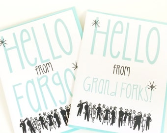Retro Hello from Your City or State Card. Customized. Personalized. Say Hello Card. Card for Best Friend. State Pride Card. Gift Shop Card.