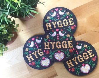 Hygge Set of 4 Coasters. Scandinavian Design. Cozy Winter Decor. Hygge Gift. Hygge Holiday Decor. Hygge Christmas Gift. Fabric Coasters