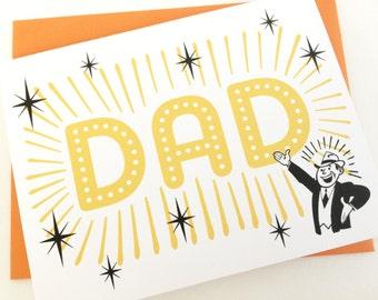 DAD Card. Happy Fathers Day Card. Birthday Card for Dad. Dads Birthday. New Dad Card. New Father Card. New Baby Card. Retro Birthday Card.