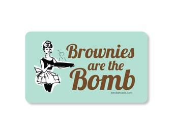 Brownies are the Bomb Rockabilly Kitchen Magnet. Gift for Baker. Gift for Mom. Gift for Best Friend. Secret Santa Gift. Retro Kitchen Magnet