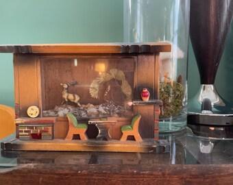 Cottagecore Vintage Wood Diorama. Wall or Shelf Display. Vintagecore Kitchen Scene.