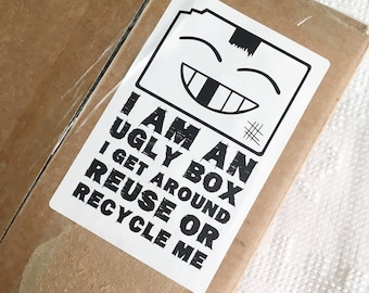 Download Ugly Box Shipping Sticker. Recycled Box Sticker. Shipping Label. DIY Printable Packaging. Shipping Boxes. Shipping Supplies. Dymo