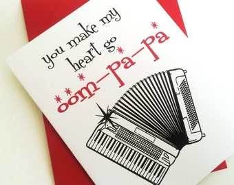You make my heart go Oompapa Card. Valentines Day Card. I Love You Card. Anniversary Card. Hipster Love Card. Musician Valentines Day Card.