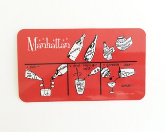 SALE - Manhattan Cocktail Magnet. Drinking Gifts. Secret Santa Gift. Stocking Stuffer. 21st Birthday Gift. Secret Santa Gift.