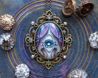 Violet Visions - Swarovski Crystal Cabochon Necklace by Ishka Lha