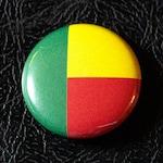 "1"" Benin flag button, pin, badge, pinback, magnet, flatback, Made in USA"