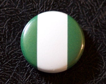 "1"" Nigeria flag button, country, pin, badge, pinback, Made in USA"
