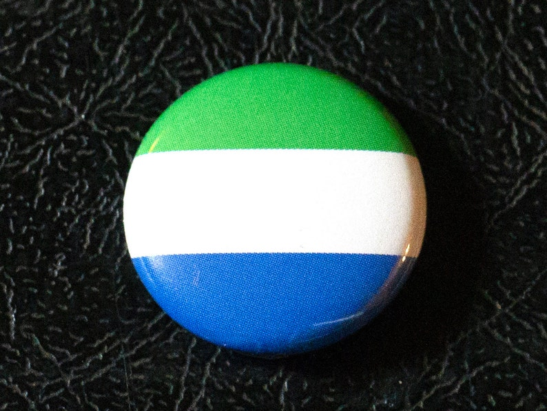 1 Sierra Leone flag button pin badge pinback magnet image 0