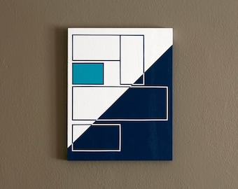 """11x14"""" ORIGINAL abstract painting, ready to hang - art, decor, navy blue, white, teal"""