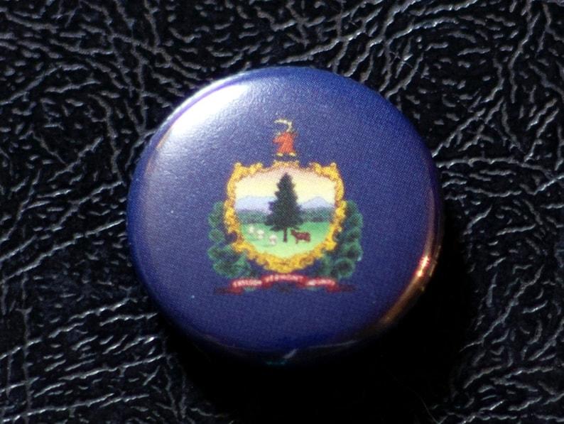 1 Vermont flag button pin badge pinback magnet image 0