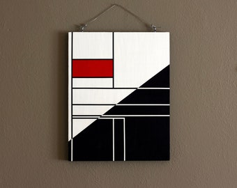 """11x14"""" ORIGINAL abstract painting, ready to hang - art, decor, red, white, black"""