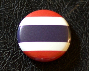 "1"" Thailand flag button, country, pin, badge, pinback, Made in USA"
