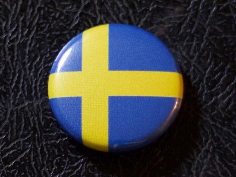1 Sweden flag button pin badge pinback magnet image 0